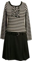 Bonnie Jean Little Girls' Stripe Knit Bodice To Black Skirt,Grey,5 [Apparel] image 2