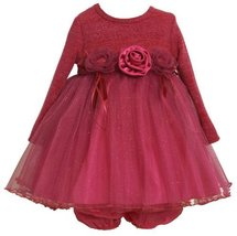 Bonnie Baby-girls Newborn Lurex Stripe Bodice To Sparkle Mesh Skirt, Fuschia,...