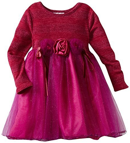 Bonnie Jean Little Girls' Lurex Stripe Bodice To Sparkle Mesh Skirt, Fuschia,...