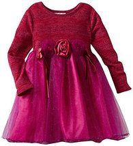 Bonnie Jean Little Girls' Lurex Stripe Bodice To Sparkle Mesh Skirt, Fuschia,... image 1