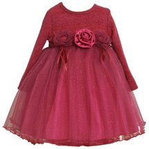Bonnie Jean Little Girls' Lurex Stripe Bodice To Sparkle Mesh Skirt, Fuschia,... image 2