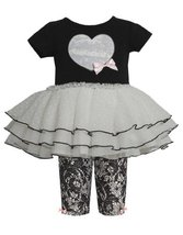Black Sequin Heart Applique Lace Print Dress/Legging Set BK1TW,Bonnie Jean Ba...