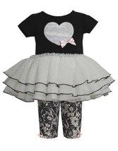 Black Sequin Heart Applique Lace Print Dress/Legging Set BK1ET,Bonnie Jean Ba...