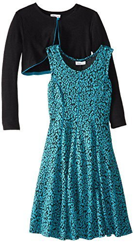Bonnie Jean Little-Girls 4-6X Jacquard Dress with Knit Cardigan (5, Turquoise)