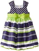 Bonnie Jean Little Girls' Shantung Dot and Stripe Dress, Navy, 2T [Apparel] image 1
