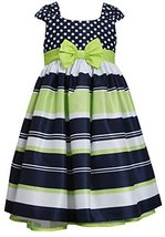 Little-Girls 2T-6X Navy Muti Dots and Stripes Bow Front Shantung Dress (2T, N...
