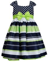 Little-Girls 2T-6X Navy Muti Dots and Stripes Bow Front Shantung Dress (3T, N...