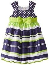 Bonnie Jean Little Girls' Shantung Dot and Stripe Dress, Navy, 4T [Apparel]
