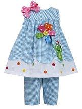 Baby-Girls Infant 12M-24M Turquoise-Blue Frog Seersucker Top/Capri Pants Set ... image 1