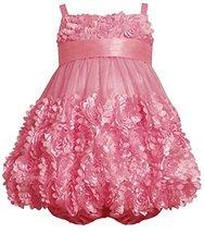 Baby Girls 3M-24M Rose-Pink Die Cut Bonaz Rosette Border Mesh Bubble Dress (2... image 2