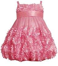 Little Girls 2T-6X Rose-Pink Die Cut Bonaz Rosette Border Mesh Bubble Dress (... image 1