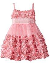 Little Girls 2T-6X Rose-Pink Die Cut Bonaz Rosette Border Mesh Bubble Dress (... image 2
