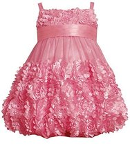 Little Girls 2T-6X Rose-Pink Die Cut Bonaz Rosette Border Mesh Bubble Dress (... image 1