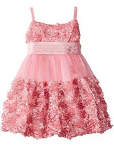 Little Girls 2T-6X Rose-Pink Die Cut Bonaz Rosette Border Mesh Bubble Dress (... image 2