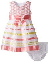 Bonnie Baby Baby Girls' Embroidered Ribbon Dress, Coral, 24 Months [Apparel] image 1