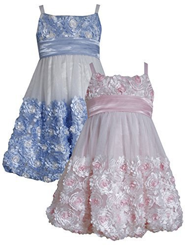Little Girls 2T-6X Pink Ivory Die Cut Bonaz Rosette Bubble Mesh Dress, PK2BA,...