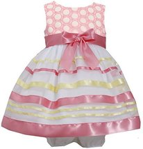 Bonnie Baby Baby Girls' Embroidered Ribbon Dress, Coral, 24 Months [Apparel] image 2