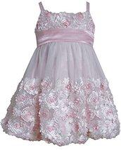 Little Girls 2T-6X Pink Ivory Die Cut Bonaz Rosette Bubble Mesh Dress, PK2BU,...