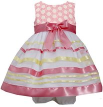 Baby-Girls Infant 12M-24M Embroidered Ribbon Organza Overlay Dress, Bonnie Ba...