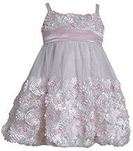 Little Girls 2T-6X Pink Ivory Die Cut Bonaz Rosette Bubble Mesh Dress, PK2BU,... image 2