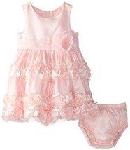 Baby-Girls NEWBORN Coral Flutter Bonaz Rosette Mesh Overlay Dress, Coral, 6/9... image 2