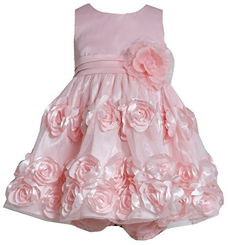 Baby-Girls INFANT 12M-24M Coral Flutter Bonaz Rosette Mesh Overlay Dress, 24 ...