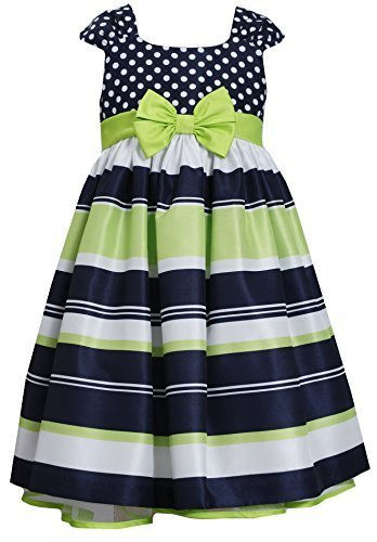 Little-Girls 2T-6X Navy Muti Dots and Stripes Bow Front Shantung Dress, Bonni...