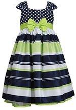 Little-Girls 2T-6X Navy Muti Dots and Stripes Bow Front Shantung Dress, Bonni...
