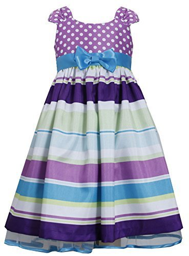 Tween Big-Girls 7-16 Purple Muti Dots and Stripes Bow Front Shantung Dress, B...