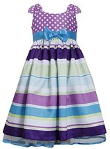 Tween Big-Girls 7-16 Purple Muti Dots and Stripes Bow Front Shantung Dress, B...
