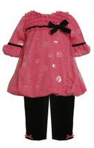 Fuchsia-Pink Foil Dot Mesh Overlay Bubble Legging Set FU0NI, Bonnie Jean Baby... image 2