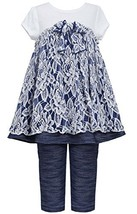 Little Girls 2T6X Blue White Floral Lace Knit Chambray Dress/Legging Set (5, ... image 1