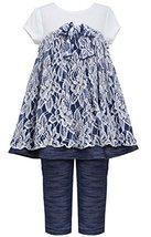Little Girls 2T6X Blue White Floral Lace Knit Chambray Dress/Legging Set (6X,...