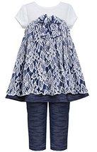Little Girls 2T6X Blue White Floral Lace Knit Chambray Dress/Legging Set (6X,... image 2