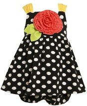 Bonnie Jean Girls 0-9 Months Black Polka Dot Knit Rosette Applique Dress (3/6...