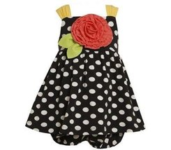 Bonnie Jean Girls 0-9 Months Black Polka Dot Knit Rosette Applique Dress (6/9... image 2