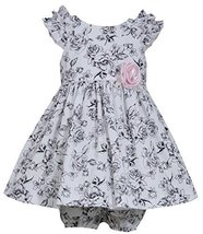 Baby-Girls Infant Black White Ruffle Shoulder Rose Floral Toile Print Dress, ...