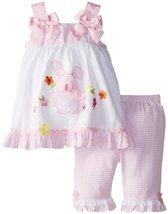 Bonnie Jean Baby Girls 3M-24M Bunny Appliqued Capri Set (6-9 Months, Pink/White)