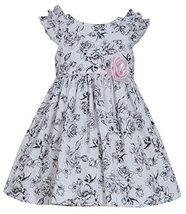 Little-Girls 2T-6X Ruffle Shoulder Rose Floral Toile Print Dress, Bonnie Jean...