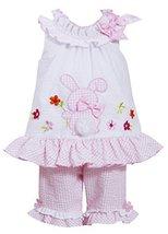 Bonnie Jean Little Girls' Bunny Appliqued Capri Set (2T, Pink/White) [Apparel]