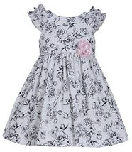 Little-Girls 2T-6X Ruffle Shoulder Rose Floral Toile Print Dress, Bonnie Jean...