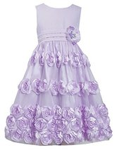 Big-Girls Tween 7-16 Coral Flutter Bonaz Rosette Mesh Overlay Dress, 10, Lave...