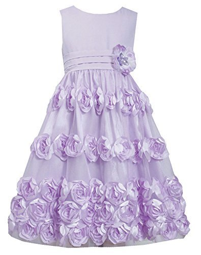 Big-Girls Tween 7-16 Coral Flutter Bonaz Rosette Mesh Overlay Dress, 12, Lave...