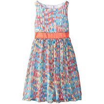 Bonnie Jean Big Girls' Multi Print Chiffon Dress, Coral, 10 [Apparel]