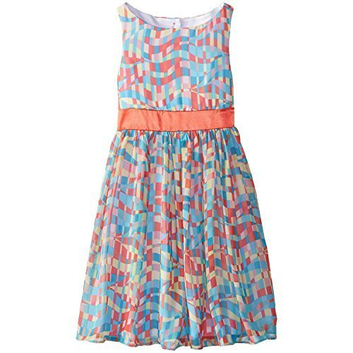 Bonnie Jean Big Girls' Multi Print Chiffon Dress, Coral, 14 [Apparel]