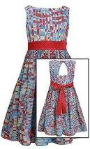 Big-Girls Tween 7-16 Coral Bold Stripe Cut Out Back Chiffon Dress, Bonnie Jea...