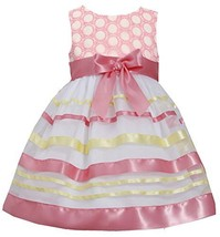 Little-Girls 2T-6X Embroidered Ribbon Organza Overlay Dress, 2T, Coral, Bonni...