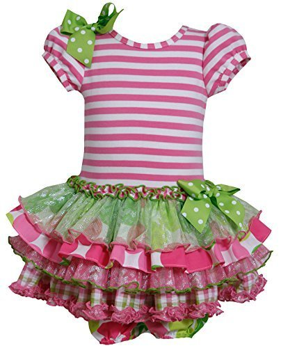 Baby Girls Newborn 3M-9M Pink Green Stripe Knit to Mix Print Sparkle Dress, P...