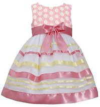 Little-Girls 2T-6X Embroidered Ribbon Organza Overlay Dress, 4T, Coral, Bonni...