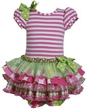 Baby-Girls INFANT 12M-24M Pink Green Stripe Knit to Mix Print Sparkle Dress, ...